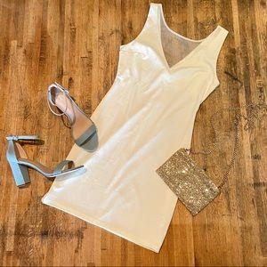 Tobi white illusion neckline fitted mini dress